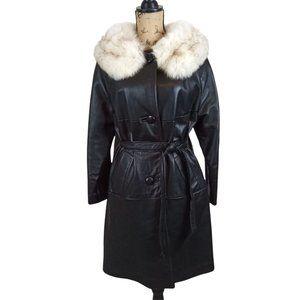 Black Leather & Rabbit Fur Long Belted Coat